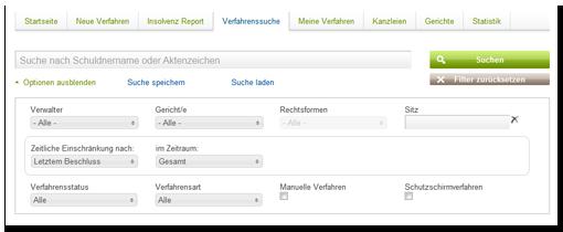 Suche in der Insolvenzverfahrensdatenbank